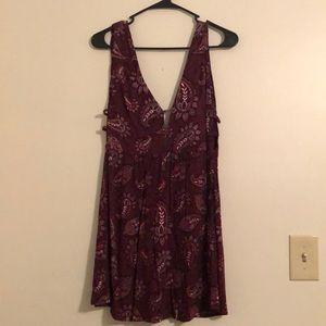 Forever 21 Maroon/Purple Patterned Dress